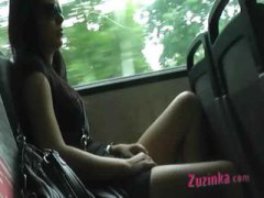 мастурбация, бивши, сред природата, автобус, брюнетки