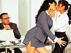Kaylani Lei, Tori Black, trentenaires, orgie, femmes, gros seins, mamans, chattes, lesbiennes, bureaux