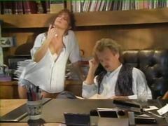 la birou, laba, retro, oral, vintage, sperma aruncata, brunete