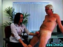 офис, жена гол мъж, възбудени, чекия