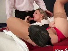 threesome, secretary, painfull, milf, blowjob