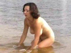 großbusig, lustig, nackt, strand, amateur, brünette, öffentlichkeit, draußen