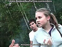 grup, rus, kolej, gerçeklik, teşhir, öğrenci, memeler, amatör, umumi, seks partisi