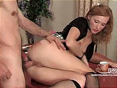 rus, oral seks, genç, traşlı, jartiyer, kızıl, çift