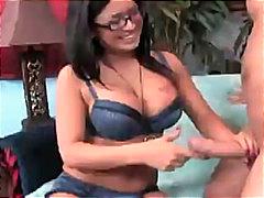 Ева Анджелина, очила, гащички, голям бюст, чорапи, фетиш