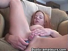 masturbaatio, lähikuva, rintava, dildo, punapää, lelu