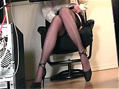 найлон, фетиш, чорапи, секретарки, пръсти, мастурбация
