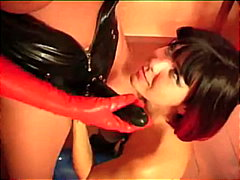 lesbisch, oral, latex, anal, spielzeug, strapon, finger, fetish, dildo