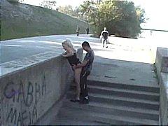 orál, felace, blondýnky, lízání, nahota na veřejnosti, venku