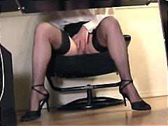 rasiert, fetish, masturbationen, voyeur, seidenstrümpfe, sekretärin, lingerie