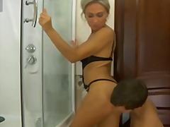 cougar, reif, große brüste, babe, euro, dusche, blond, milf, badezimmer, orgasmus