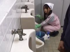 japanisch, uniform, blowjob, dusche, fetish, badezimmer, voyeur, asien, öffentlichkeit, draußen