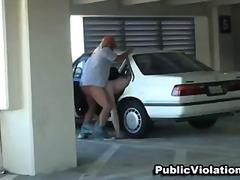 felace, v autě, blondýnky, nahota na veřejnosti