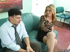 brille, sekretärin, blowjob, pussy, boss, kleine titten, seidenstrümpfe, blond, pornostar, büro