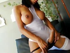 shemale, velký prsa, sólo, masturbace, brunetky, vyholený, punčochy
