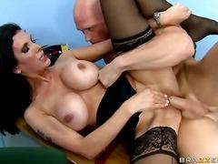 milf, nylons, pornostar, brünette, blowjob, hardcore, große brüste, seidenstrümpfe