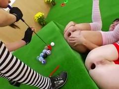 дилдо, играчка, лесбийки, брюнетки, анално, брутално, трио