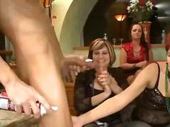 парти, жена гол мъж, публично, орално