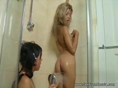 душ, брюнетки, баня, мокри, рускини, лесбийки