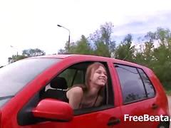 orál, felace, venku, brunetky, v autě, mladý holky