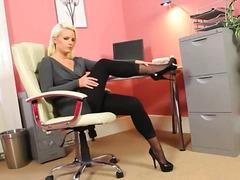 jeune fille, chérie, bureaux, blondes