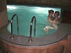 басейн, голи жени, шпионски, скрит, двойка