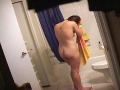 шпионски, голи, баня, скрит, брюнетки