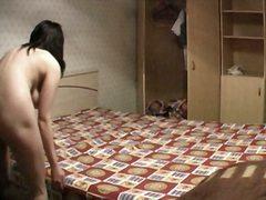 спане, легло, шпионски, пухкави, брюнетки, скрит