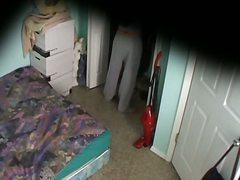 golotinja, krevet, špijun, skrivena kamera, obučene, čipkaste gaćice, devojka, vojadžer