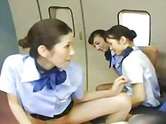 японки, азиатки, публично, чорапогащи, униформа
