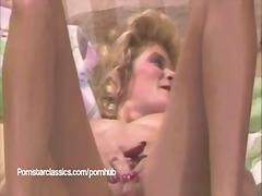 Ginger Lynn, lancap, bintang porno, skodeng, berbulu, orgasma, mainan, ibu seksi, stail dulu, ibu/emak