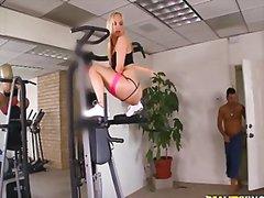 фитнес, анално, двойка, блондинки
