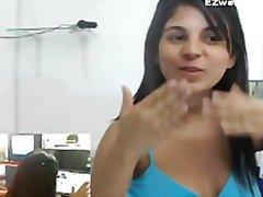 webkamera, toimisto, masturbaatio, soolo, tyttö, latino