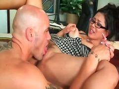 secretary, finger, eating, pussy, big, tits