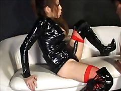 dominant kvinna, strap-on-dildo, latex