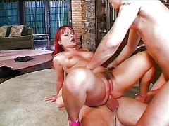 масов секс, трио, червенокоси