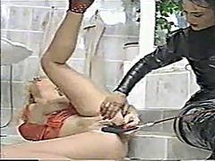 onani, dominant kvinna, lesbisk, latex